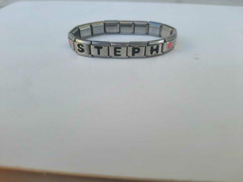 Bracelet argenté-brillant avec prénom